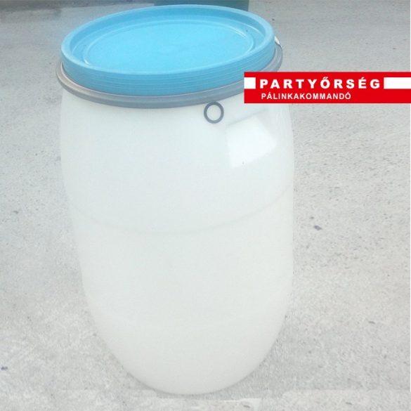 Műanyag hordó pálikacefre készítéshez (120l) Erős fémpánttal zárható!